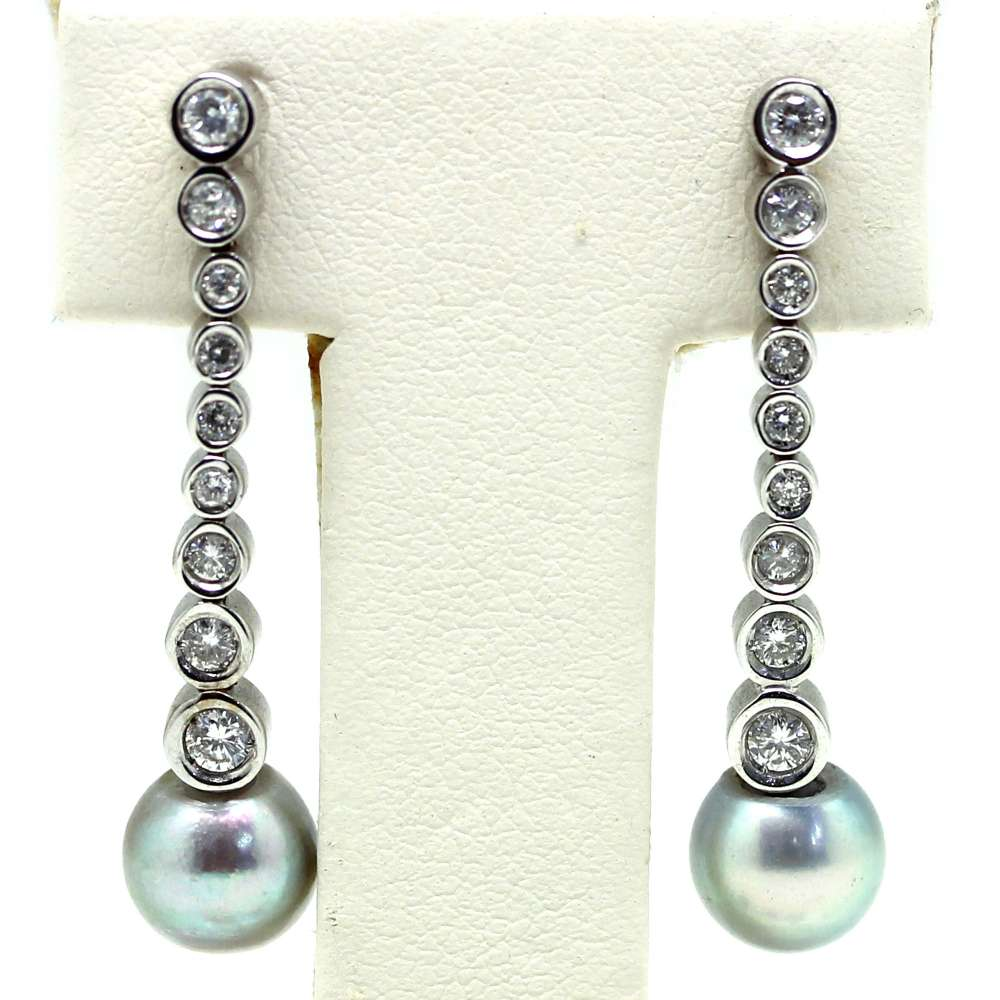 Earrings White Gold 18Kl Cultured Pearl 7 mm 0.30 Cts