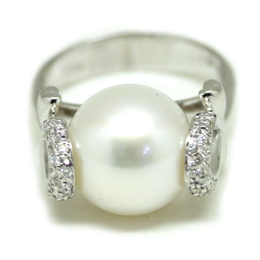 Ring White Gold 18Kl Cultured Pearl 12mm 0.20 Cts